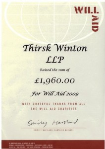 Certificate of £1,960 being raised for Will Aid